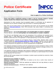 UK police certificate application form
